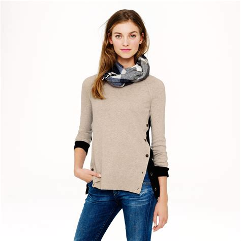 Jcrew Sidebutton Sweater In Colorblock In Natural Lyst