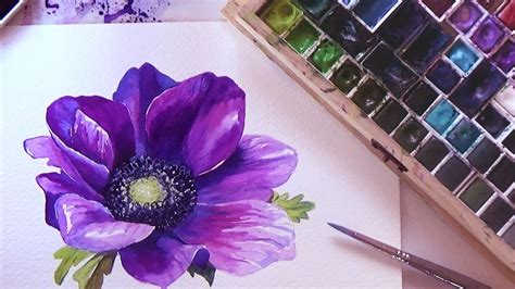 how to a flower how to paint a flower in watercolor tutorial step by step