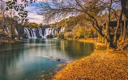 Desktop Wallpapers Bosnia Kravice Landscape Autumn Waterfall