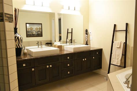 Floating Black Wooden Bathroom Double Vanity With Double