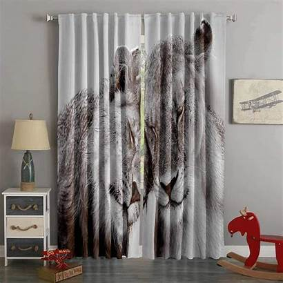 Curtains Lion Living Westbedding Printed Curtain