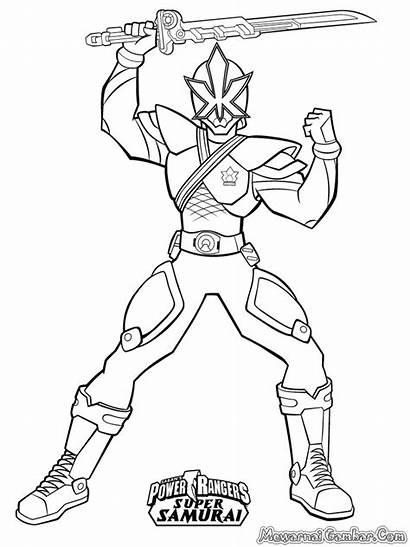 Mewarnai Power Ranger Gambar Sketsa Robot Samurai
