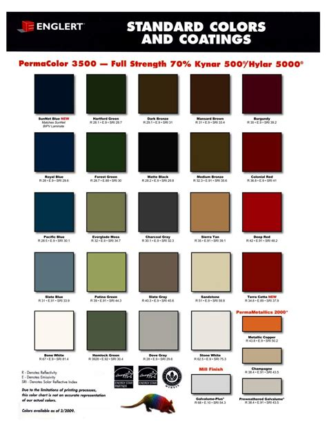 color chart englert architectural sheet metal