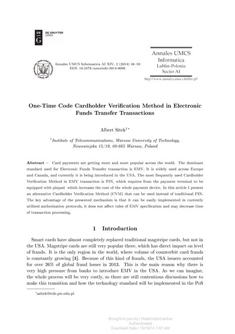 (PDF) One-Time Code Cardholder Verification Method in