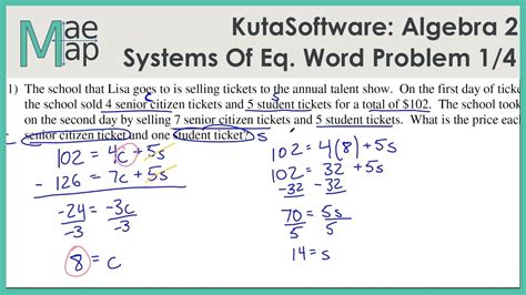 kutasoftware algebra 2 systems of equations word