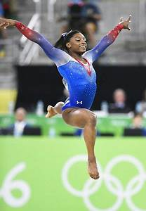 US gymnast Simone Biles performs in the women's floor ...