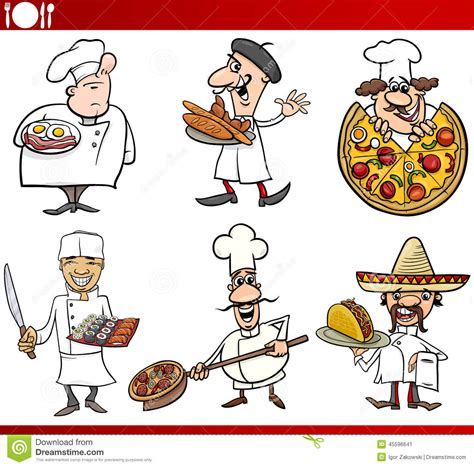 cuisine de chefs international cuisine chefs stock vector