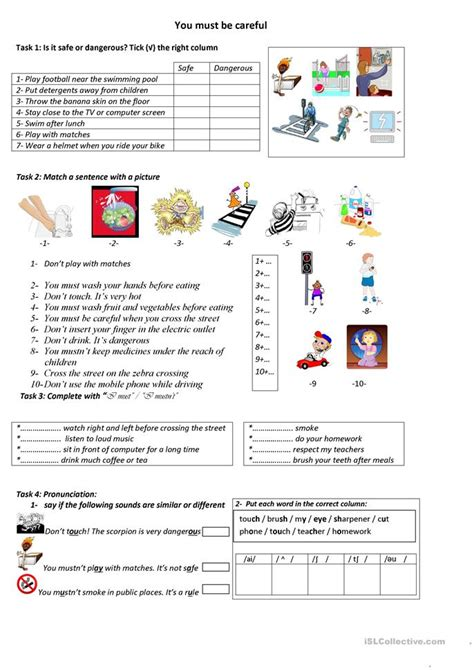 esl safety worksheets