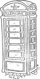 Booth London Phone Sketch Telephone Coloring Stamps Magnolia Box Colouring Pages Outline British Sheets Drawing Line Drawings Rickshaw Google Tampons sketch template