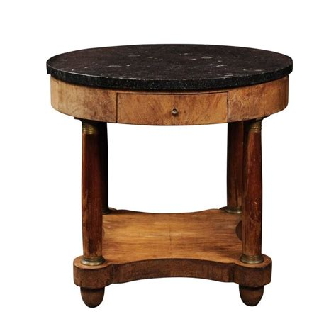 column table l empire style 1850s burl table with marble top and