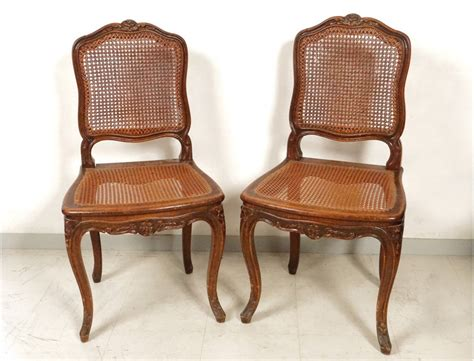 chaises louis philippe cannées louis xv carved walnut chairs pair caned acanthus flowers