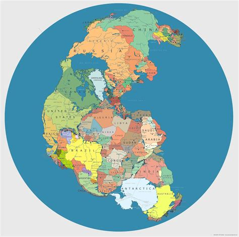 Map of Pangea with current international borders. [1600 × ...