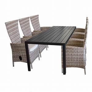 Polyrattan Gartenmöbel Set : 7tlg gartenm bel set aluminium polywood gartentisch 205x90cm 6x rattansessel polyrattan ~ Yasmunasinghe.com Haus und Dekorationen