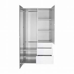 Armoire Blanche 2 Portes : perouse armoires blanc bois habitat ~ Teatrodelosmanantiales.com Idées de Décoration