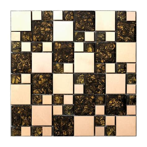 gold metal glass mosaic tile kitchen backsplash bathroom