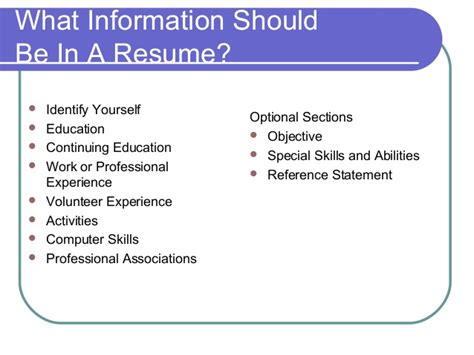 information that should be on a resume resume ideas