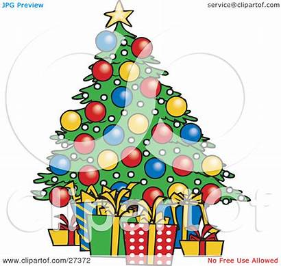 Christmas Tree Presents Clipart Under Xmas Decorated
