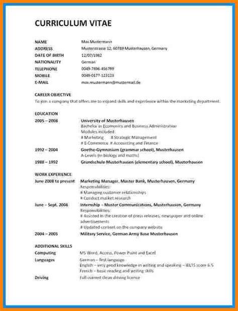 Vorlage Lebenslauf Englisch by 11 Lebenslauf In Englisch Artcon Servation Services Boston