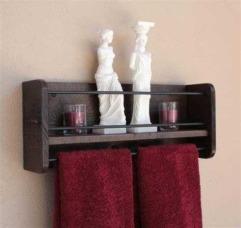 bathroom shelf with towel bar wood rustic wood wall shelf towel rack bathroom towel shelf