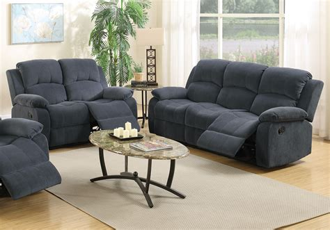 pc motion sofa loveseat set recliner blue grey pillow