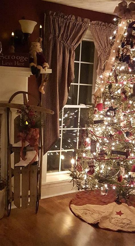 primitive christmas tree ideas  pinterest