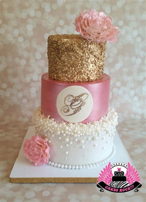 pink and gold baby shower cake gold pearls and pink baby shower cake by cakes rock