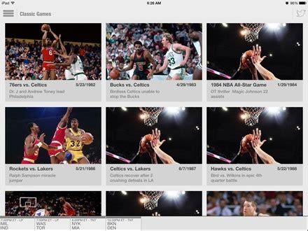 nba game time  ipad adds classic  section