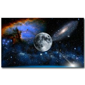 The Moon Milky Way Universe Galaxy Art Silk Poster