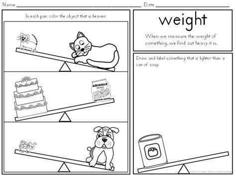 mass preschool comparing masses worksheets for kindergarten weights on 108