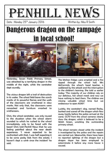 dragon sighting newspaper report teaching resources