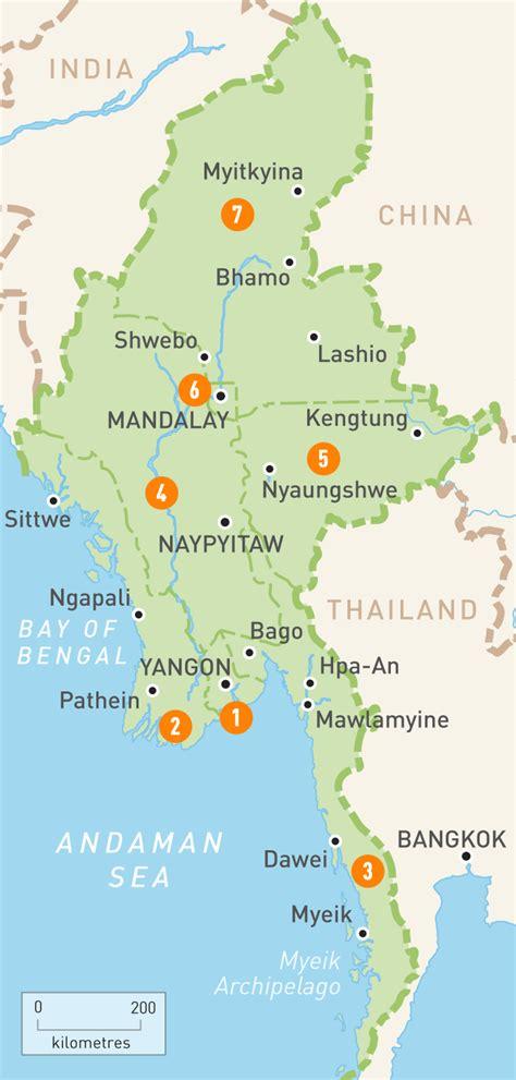 map  myanmar myanmar regions rough guides rough guides