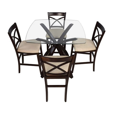 height table and chairs 53 off counter height glass and wood table with four