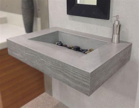 concrete bathroom sink diy handmade floating sink with wood grain edge by trueform