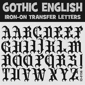gothic lettering iron on transfer letters alphabets a z With old english iron on letters white