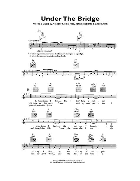 under the bridge chords by red hot chili peppers melody