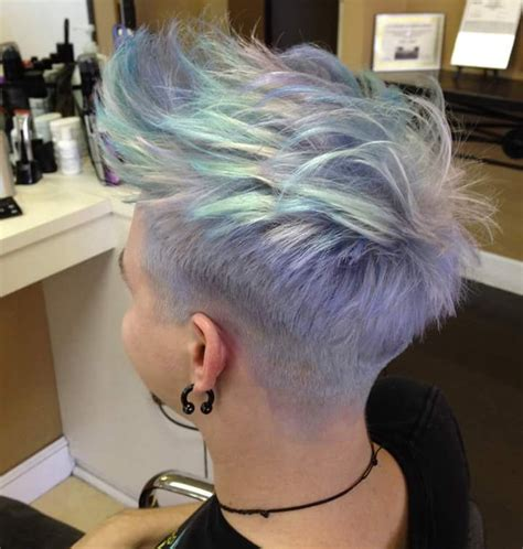 Image Short Hair Shave At The Sides Dyed Pastel Shades