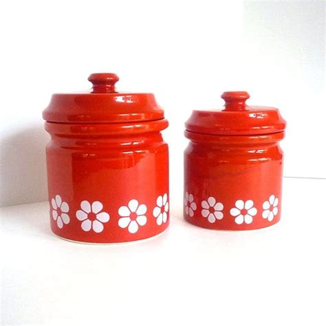 All you need to do is spend a while looking around. 60's / 70's Red Ceramic Canister Set by cohabitvintage on Etsy, $32.00 (With images) | Ceramic ...