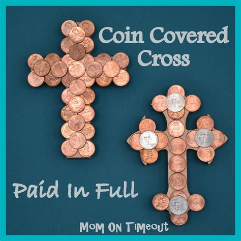 religious craft ideas for adults coin covered cross paid in easter craft on 7101