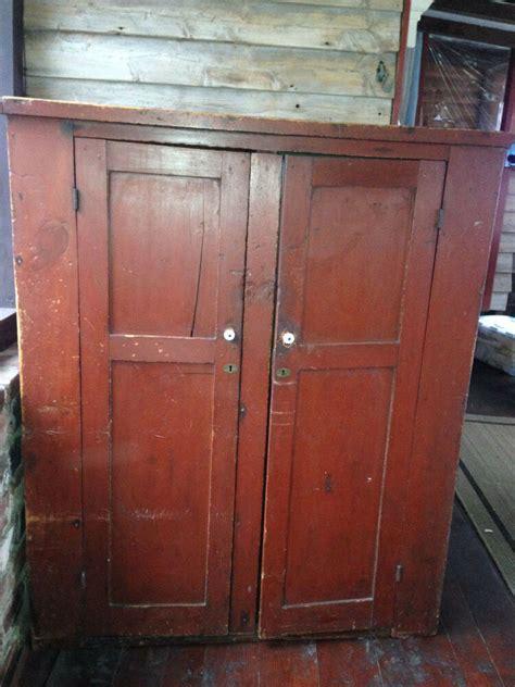 primitive wood antique rustic colonial red wardrobe