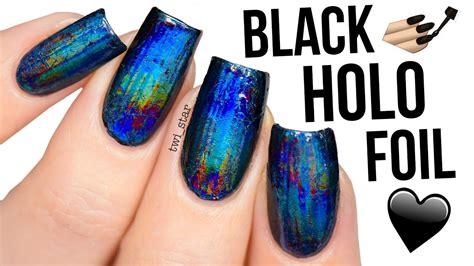 Ultimate Black Holo Foil Nails