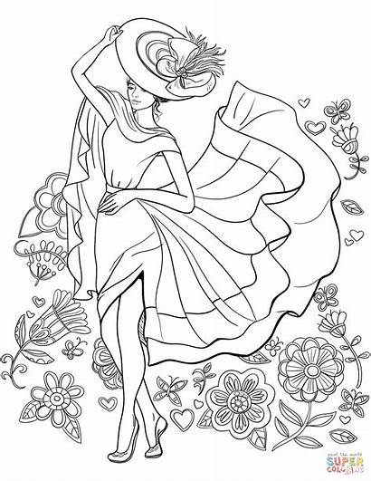 Coloring Pages Lady Adult Adults Printable Pinup