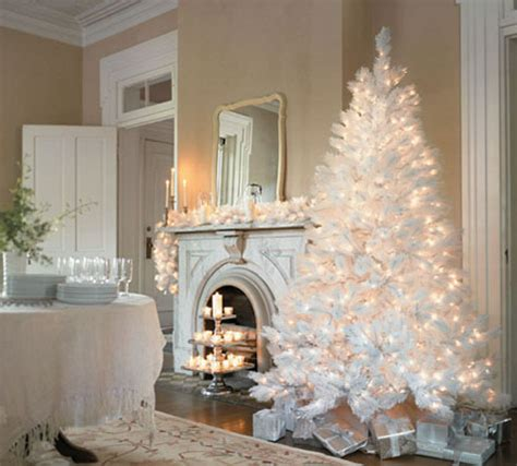 beautifully decorated white christmas trees