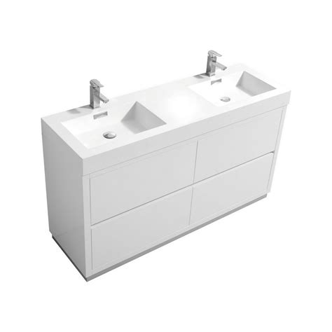 free standing bathroom sink bliss 60 quot double sink high gloss white free standing vanity