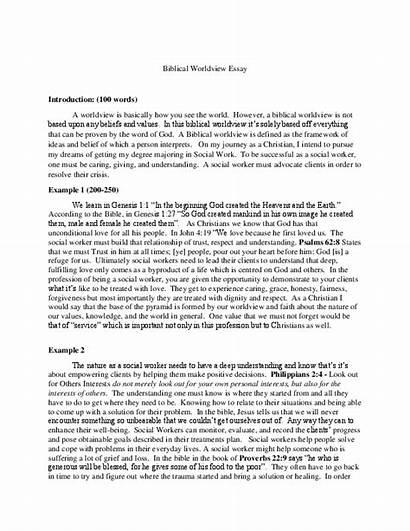 Worldview Biblical Essay Academia
