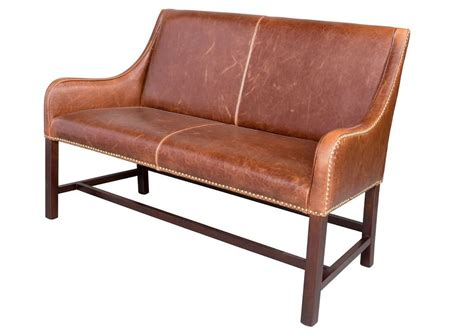 Leather Settee by Awesome Manchester Antiqued Saddle Leather Settee Bench 46 W