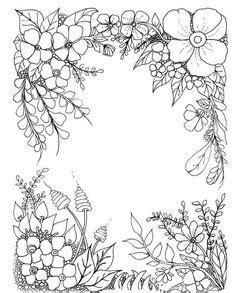 floral border kleurpboek coloring page book malarbok