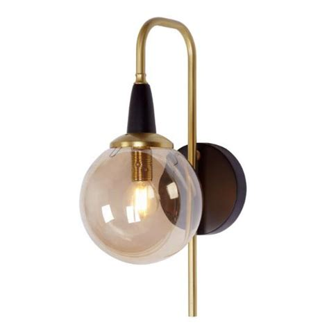black and brass wall light with amber glass diffuser r s
