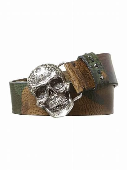 Belt Skull Diesel Head Camouflage Brown Lyst