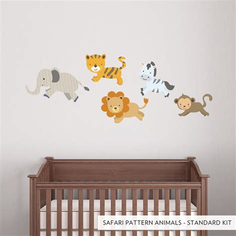 wall applique safari pattern animals printed wall decal