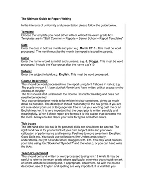 report writing  templates  annsp teaching resources